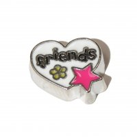 Friends in heart with star - 9mm floating charm