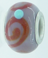 EB241 - Purple bead with brown swirl and blue dots
