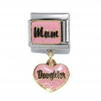 Mum with dangle heart Daughter - dangle 9mm Italian charm