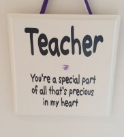 Teacher - your a special part.. wooden plaque