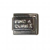 Silver coloured find a cure breast cancer 9mm Italian charm