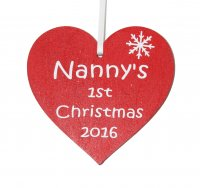 Nanny's 1st Christmas 2016 red heart Tree decoration
