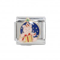 Christmas teddy with gift - enamel 9mm Italian charm