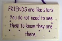 Friends are like stars... - Purple - Handmade wooden plaque