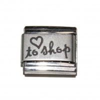 Love to shop - plain laser with heart 9mm Italian Charm