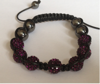 Amethyst Crystal Shamballa 10mm Disco ball bracelet