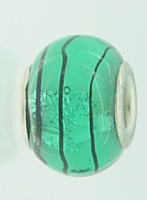 EB110 - Glass bead - turquoise bead with black lines