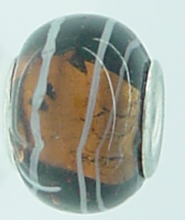 EB267 - Black and brown foil bead