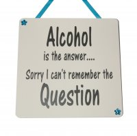 Alcohol is the answer sorry - Handmade Wooden Plaque