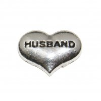 Husband silvertone heart 10mm floating locket charm