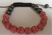Pink Crystal Shamballa 10mm Disco ball bracelet