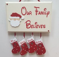 Our family believes Christmas - with 4 personalised stockings