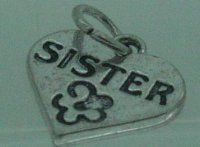 Sister with flower dangle - fits European bead bracelets