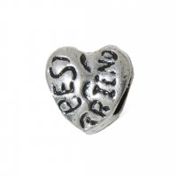 EB3 - Best Friend silvertone heart - European bead charm