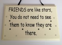 Friends are like stars... - Black - Handmade wooden plaque