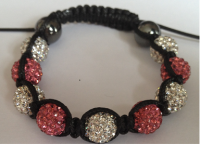 Dark Pink & White Crystal Shamballa 10mm Disco ball bracelet