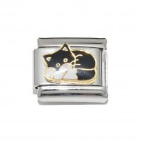 Black and white cat sleeping - 9mm enamel Italian charm