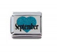 September in Sparkly Heart - Birthmonth 9mm Italian charm