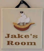Pirate ship personalised room plaque - handmade wooden plaque