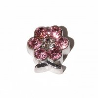 Flower with pink stones 8mm floating locket charm
