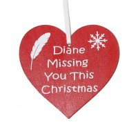 Personalised Missing you this Christmas red heart decoration