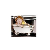 Baby in Bath tub - enamel 9mm Italian charm