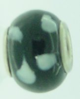 EB89 - Glass bead - Black bead with white