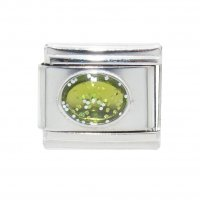Sparkly Oval - August 9mm Italian charm