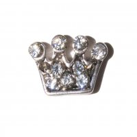 Crown with clear stones 8mm floating locket charm