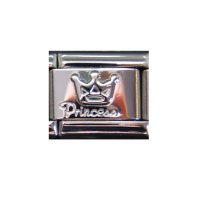 Silver coloured Princess with crown link - 9mm Italian charm