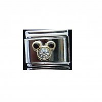 Mickey Head - Clear stone dark red ears - 9mm Italian Charm