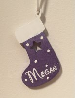 Purple Wooden Christmas Stocking personalised with any name