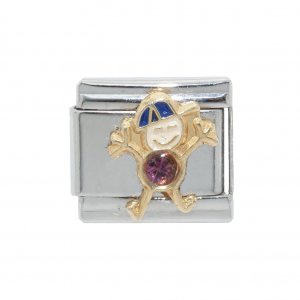 Little boy birthstone - February - Amethyst 9mm Italian Charm