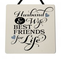 Husband and Wife - Handmade SQAURE plaque