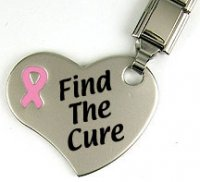 Breast cancer - Keyring with heart - Find the Cure