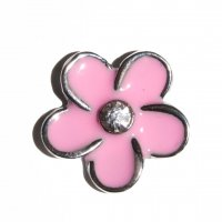 Pink flower clear stone 11mm floating locket charm