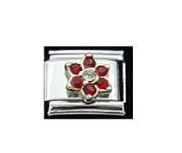 July Flower New Birthstone - Ruby - 9mm Italian charm
