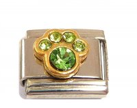 August Birthstone - Peridot - Pawprint 9mm Italian charm