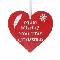 Mum Missing you this Christmas red heart tree decoration