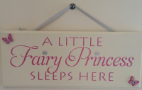 A little fairy princess sleeps here pink Handmade wooden plaque