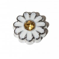 Daisy Flower with gold stone 7mm floating locket charm