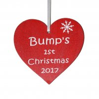 Bump's 1st Christmas 2017 red heart Tree decoration