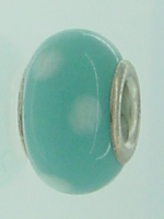 EB362 - Turquoise bead with white dots