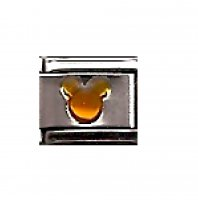 Amber colour Mickey head 9mm Italian charm