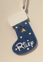 Metallic blue Wooden Christmas Stocking personalised any name