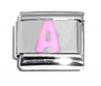 Pink Letter A - 9mm Italian charm