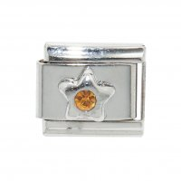 November Birthstone star - Citrine 9mm Italian charm