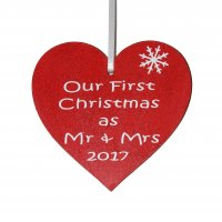 Our First Christmas as Mr & Mrs 2017 red heart decoration