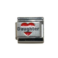 Daughter in red heart - laser 9mm Italian charm