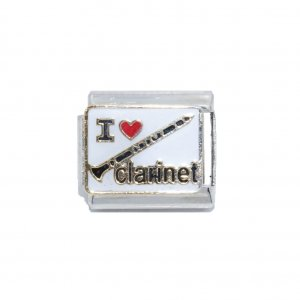 I love clarinet - 9mm enamel charm
